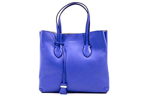 Coccinelle Celene borsa shopping pelle Double Blu Nect/conchiglia