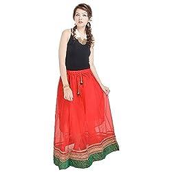 Kiran Udyog Rajasthani Ethnic Red Pure Cotton Skirt 594