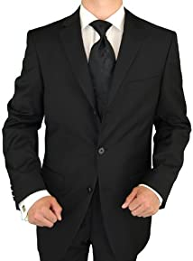 Giorgio Napoli Men's Three Button Jacket Pleated Pants Black Suit