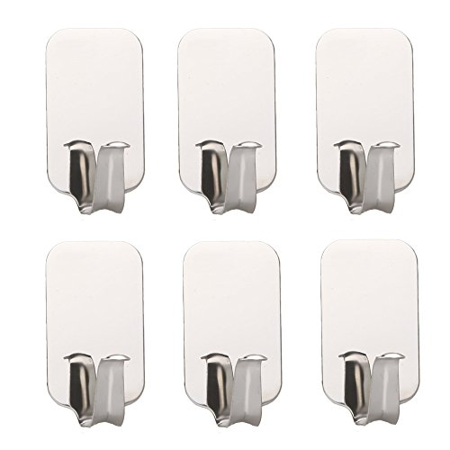 Daixers Stainless Steel Powerful Adhesive Hooks,Easy To Install - Strong & Durable 6-Hook (Max Load 4.4 pounds) (Metal Refrigerator Shelf Clips compare prices)