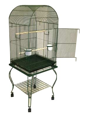 Brand New Parrot Bird Cage Cages Dome W/stand on Wheels 20x20x58, Green