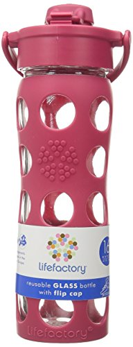 Lifefactory Unisex Glass Bottle with Flip Cap 16 oz. Raspberry Water Bottle 16 oz