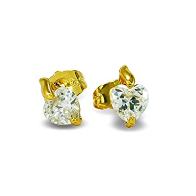Small 9ct Yellow Gold Filled Heart Stud Earrings Girls Womens 9K GF