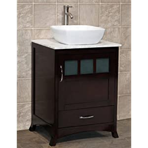 24 Bathroom Vanity Solid Wood Cabinet With White Tech Stone Quartz V