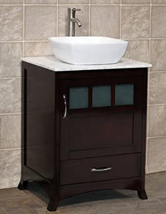 "24"" Bathroom Vanity Solid Wood Cabinet with White Tech Stone (Quartz),Vessel Sink TR4"