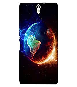 ColourCraft Fire and Ice Galaxy Design Back Case Cover for SONY XPERIA C5 ULTRA