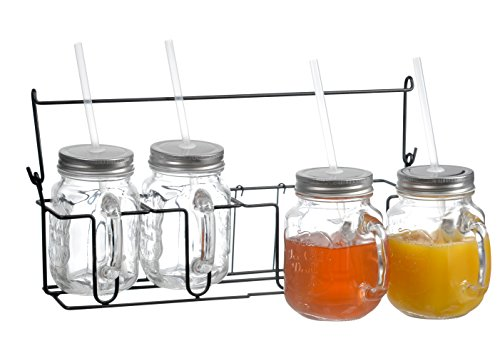 Zeesline Set of Four (4) 16-oz Clear Glass Mason Jars Mugs with Handles, Metal Lids and Drinking Straws, Including Caddy Holder with a Handle, Home and Party Drinkware Set... (Sippy Cup Lids For Ball Jars compare prices)
