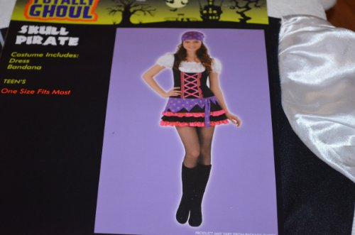 Teen Girls Skull Pirate Halloween Costume - One Size Fits Most