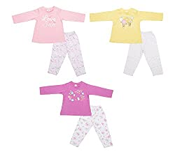 Zero Girls' Clothing Set - 3 Vests and 3 Pants (421_1_3-6 Months, Multi-Coloured, 3-6 Months)