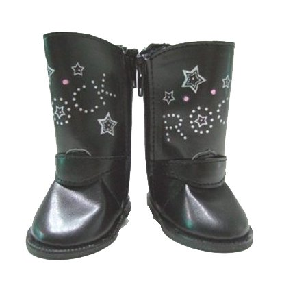 BUYS BY BELLA Black Rocker Boots for 18 Inch Dolls Like American Girl
