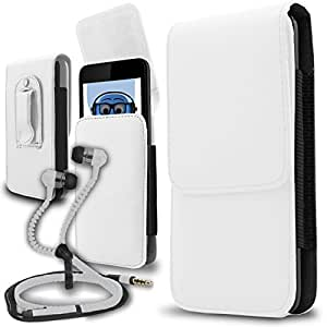 iTALKonline LG Optimus Slider White PREMIUM PU Leather Vertical Executive Side Pouch Case Cover Holster with Belt Loop Clip and Magnetic Closure