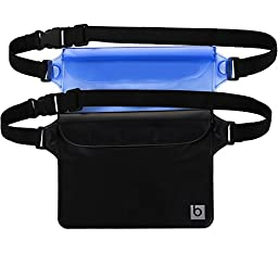Waterproof Pouch with Waist Strap (2 Pack) | Best Way to Keep Your Phone and Valuables Safe and Dry | Perfect for Boating Swimming Snorkeling Kayaking Beach Pool Water Parks | 100% Lifetime Guarantee