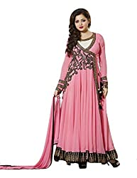 Mandani Fashion women's Fuax Georgette Party Wear Unstitched dress material(SF129_Peach color)