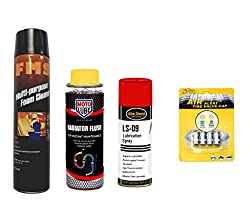 Combo of 4 Items - FMS Multi Purpose Foam Cleaner 600 ml. & Moto Lube Radiator Flush 300 ml. & Ultra Shield Lubrication Spray 500 ml. & Auto Pearl Tyre Air Alert