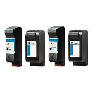 Inkjetcorner 4PK (2 Black & 2 Color) Remanufactured Ink Cartridges for HP 15 23 Deskjet 810C 812C PSC 500 500Xi