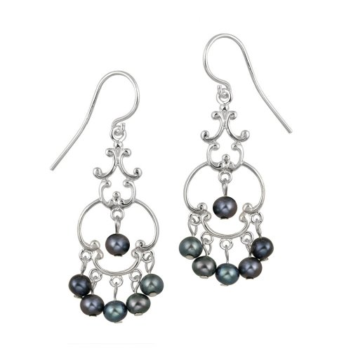 Sterling Silver Fancy Linear Drop French Wire Earrings with 6 Round Freshwater Peacock Pearl Drops