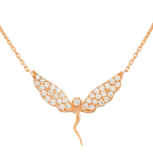 Sterling Silver Yellow Rose Gold Plated Fairy Girl Charm White Crystals Cz Pendant Necklace With Chain (Rose Gold Plated)