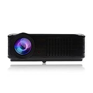 Minidiva 1080P projecteur vidéo 800 * 600 2000 Lumens Projecteur HD Home Cinéma LCD multimédia HDMI USB TV DVD WII (Noir)