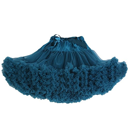 Women's Adult Teenage Girls Ruby Petticoat Ballet Dance Party Fluffy Tutu Skirt (Peacock Green) (Adult Peacock Tutu)