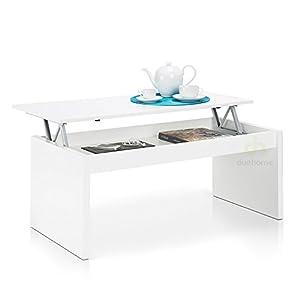 due home table basse blanc brillant avec plateau relevable. Black Bedroom Furniture Sets. Home Design Ideas