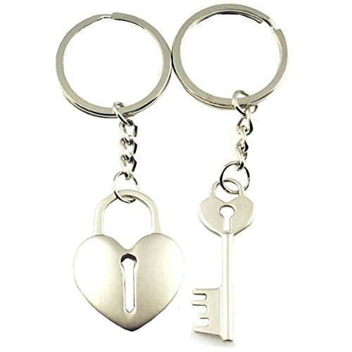 4EVER Color Gift Box Packaging Cross Arrow Piece Love Heart Lock Key Couple Keychains Bag Key Rings Key Chain Gift for Valentine Wedding Anniversary (A Pair)