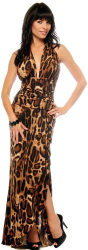 Hot Leopard Halter Evening Gown Sexy Long Maxi Dress