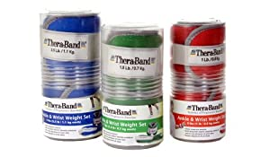 Thera-Band Comfort Fit Ankle/Wrist Cuff Weight Sets - Sold in Pairs-2lbs-Red