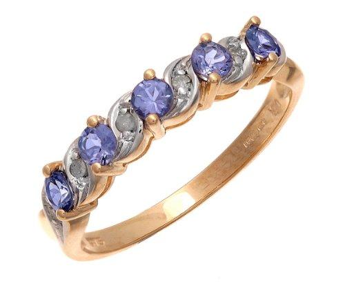 9ct Yellow Gold Tanzanite and Diamond Eternity Ring