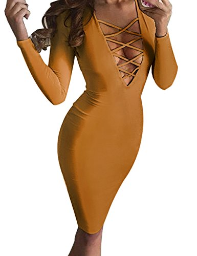 HARHAY Women Sexy Long Sleeve Autumn Warm Stretch Bodycon Party Bandage Dresses Ginger XS (Sexy Ginger)