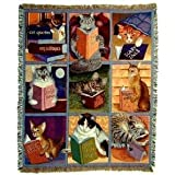 Cats with Books Tapestry Throw Blanket
