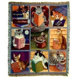 Amazon Com Cats With Books Tapestry Throw Blanket Home