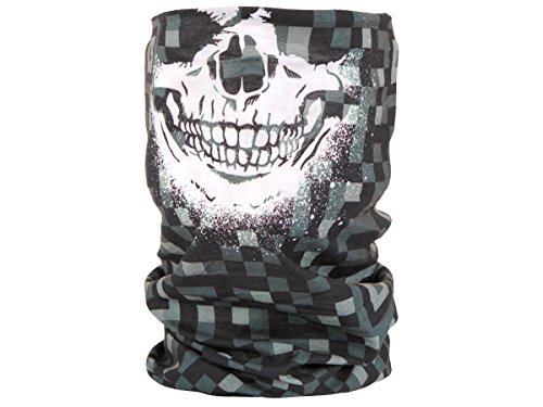 Foulard fazzoletto da collo sciarpa funzionale multiuso scaldacollo tubolare leggero e morbido estate primavera autunno inverno loop anello ragazze colorati stola accessorio moderno lifestyle, Multituch MF-174-221:MF-175 Skull