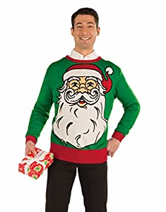 Adults Mens Santa Claus Face Funny Ugly Christmas Sweater Party Sweatshirt from Forum Novelties