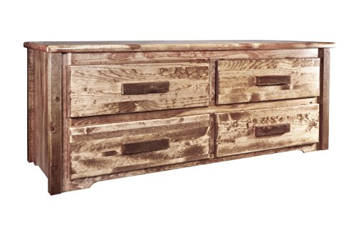 Montana Woodworks Homestead Collection 4-Drawer Sitting Chest, Stain And Lacquer Finish