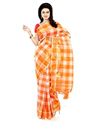B3Fashion Traditional Bengal Handloom Orange & Off White Checkered Saree With Zari Weaved Border