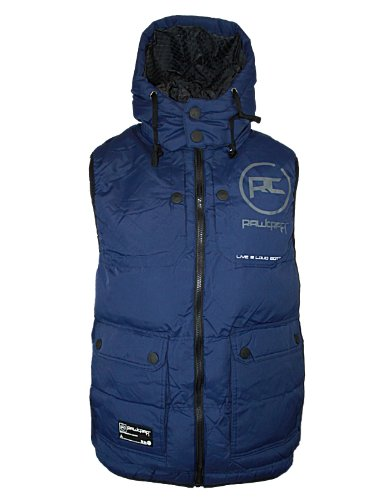 New Mens Navy Rawcraft Silva Designer Branded Padded Hooded Gilet Jacket M