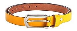 WildHorn Women's Leather Belt (WHRH178--34, Yellow, 34)
