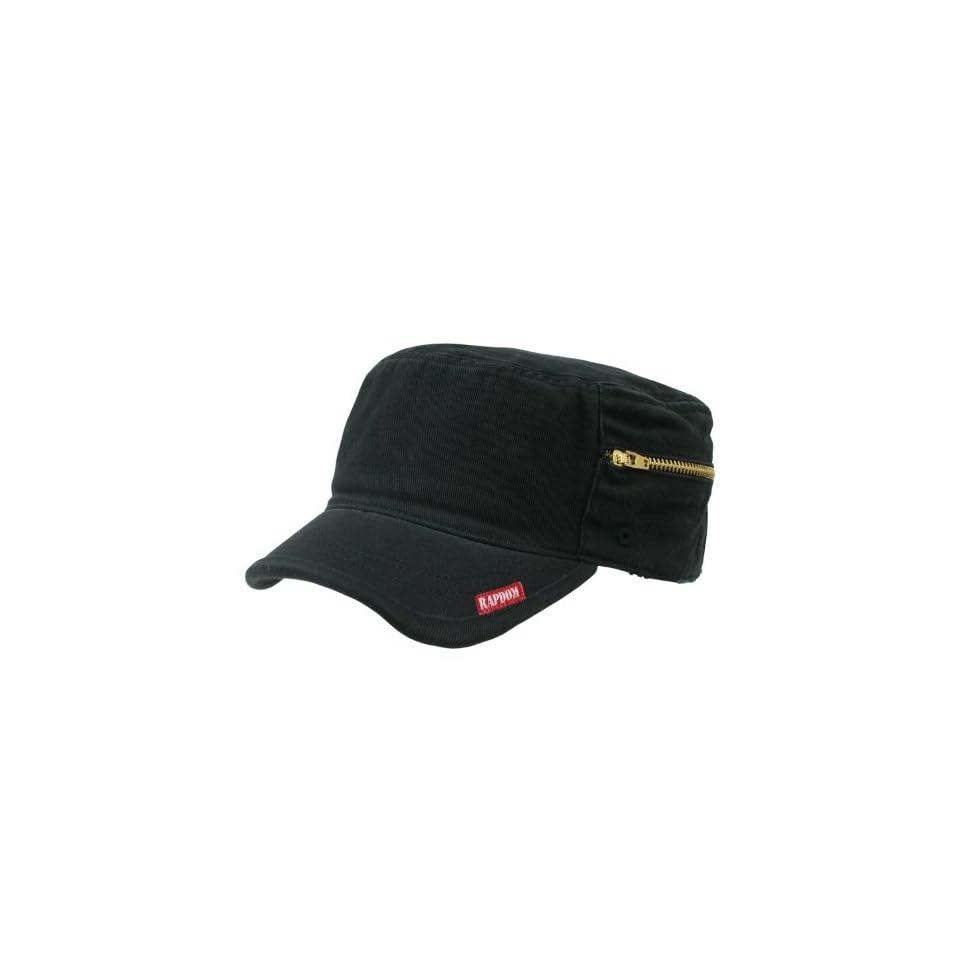 Rapiddominance Adjustable Patrol Cap with Zipper, Black