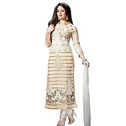 KMOZI White Goldern Strip Dress Material