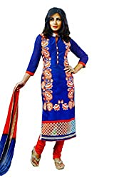 Pehnawa Fashion Women Poly_Cotton Unstitched Dress Material (Royal Blue)