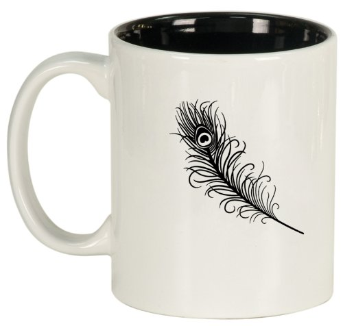 White Ceramic Coffee Tea Mug Peacock Feather