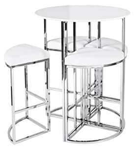 nouveau style en forme de maison blanc brillant ensemble table haute de bar ronde avec 4 chaises. Black Bedroom Furniture Sets. Home Design Ideas