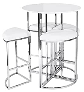 New Dwell Style Gloss White Orbit Bar Table Set Inc 4 Chairs Kitchen Home