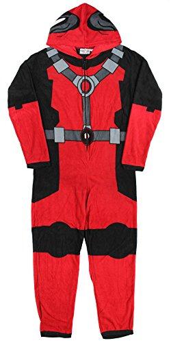 Deadpool-X-Men-Costume-Hooded-Fleece-One-Piece-Union-Pajamas