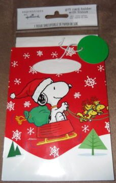 Peanuts Snoopy Christmas Gift Card Holder Bag with Tissue Sheet