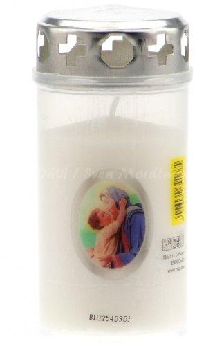 eika Grablicht mit Ikonenbild Maria mit Kind, weiß, mit Deckel (WB2)