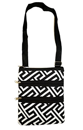 World Traveler Greek Key Cross-Body Handbag
