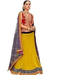 Admyrin Women Yellow Net Lehenga Choli