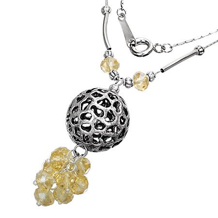 Bali Collection Fashion Alloy Bali-Inspired Cluster Crystal Bead Ball Charm Necklace