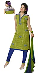 Ritu Creation Women's New Cotton Stitched Varli Print Chudidar Suit With Embroided (Green)